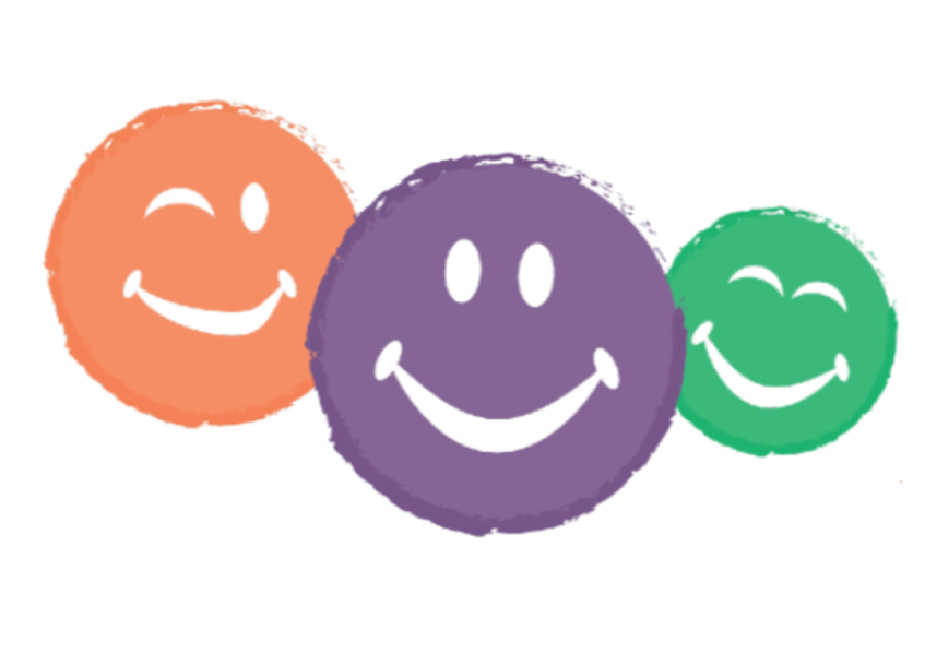 Orange, Purple and green smiling faces